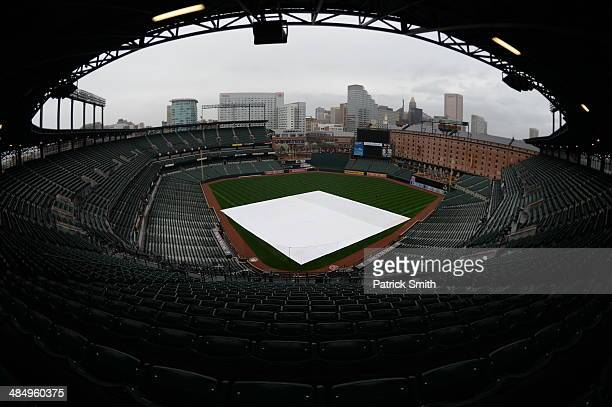 The tarp covers the infield before the Tampa Bay Rays play the Baltimore Orioles at Oriole Park at Camden Yards on April 15 2014 in Baltimore Maryland