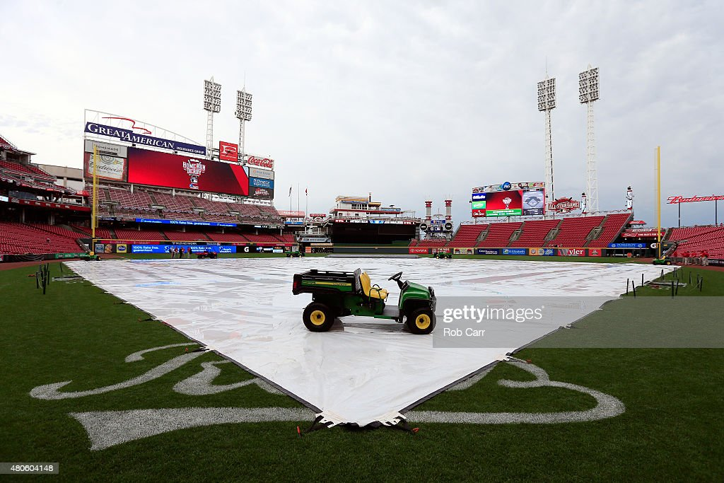 The tarp is seen on the field ahead of the Gatorade All-Star Workout at the Great American Ball Park on July 13, 2015 in Cincinnati, Ohio.