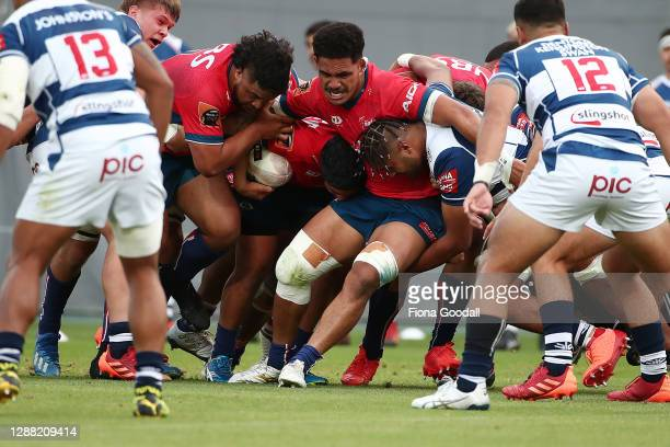 The Tasman forwards drive the ball to the try line during the Mitre 10 Cup Final between Auckland and Tasman at Eden Park on November 28, 2020 in...