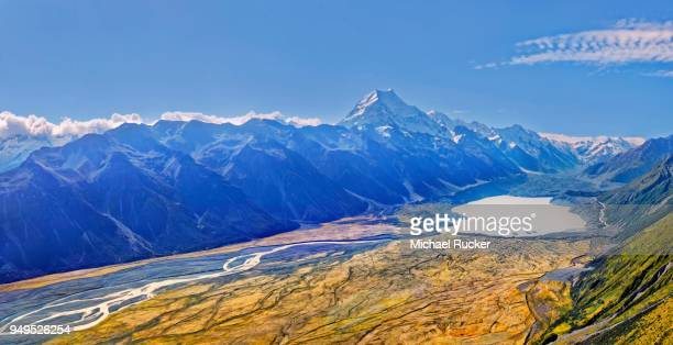 The Tasman Glacier and the peak of Mount Cook, Aoraki, Mount Cook National Park, New Zealand Alps, South Island, New Zealand