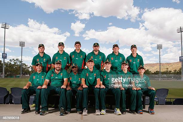 The Tasmanian team team pose for a team before the 20415 Imparja Cup on February 8 2015 in Alice Springs Australia