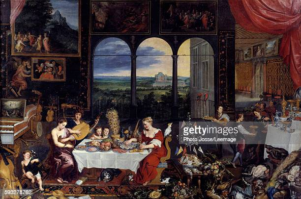 The Taste the Hearing and the Touch Allegory of the five senses The meal of a wealthy family poultry and seafood make up the menu of the banquet...