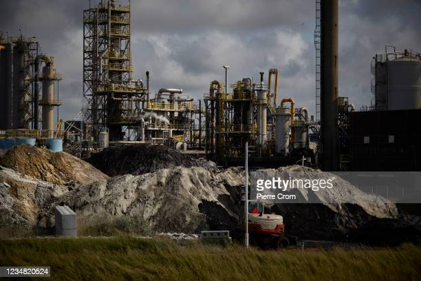 The Tata Steel plant is seen on August 20, 2021 in Velsen-Noord. The Tata steel plant is under investigation by the Dutch Public Prosecution Service...