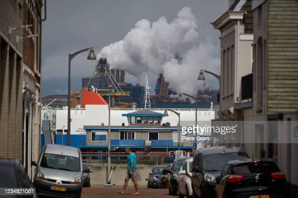 The Tata Steel plant seen from a residential area on August 22, 2021 in Ijmuiden. The Tata steel plant is under investigation by the Dutch Public...