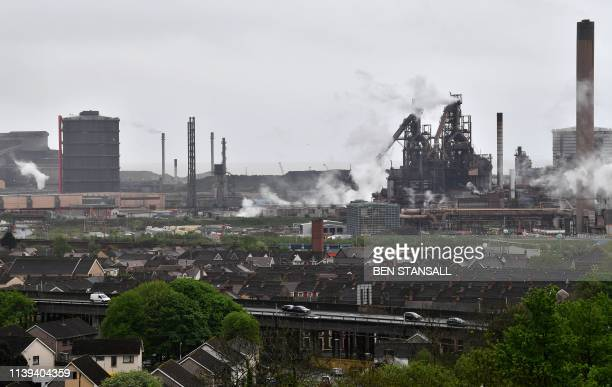 The Tata Steel steel plant is pictured in Port Talbot south Wales on April 26 following an incident at the site early today An explosion at the Tata...