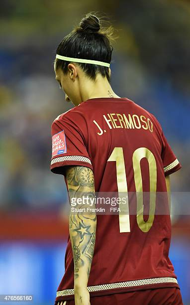 The tatooed arm of Jennifer Hermoso of Spain during the FIFA Women's World Cup 2015 group E match between Spain and Costa Rica at Olympic Stadium on...