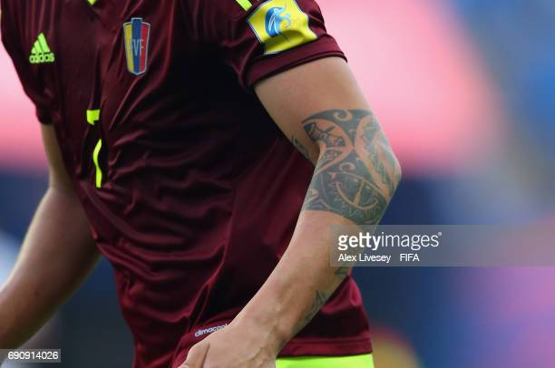 The tattoo of Adalberto Penaranda of Venezuela is seen during the FIFA U20 World Cup Korea Republic 2017 Round of 16 match between Venezuela and...