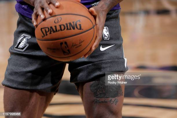 The tattoo of LeBron James of the Los Angeles Lakers that he got to honor Kobe Bryant on February 1 2020 at Golden 1 Center in Sacramento California...
