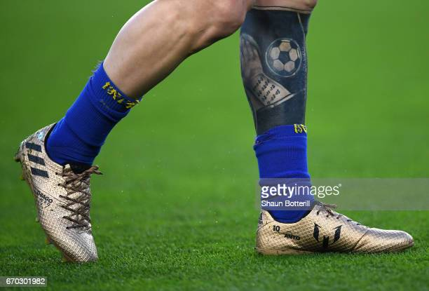 The tattoo of Lionel Messi of Brcelona is pictured during the UEFA Champions League Quarter Final second leg match between FC Barcelona and Juventus...