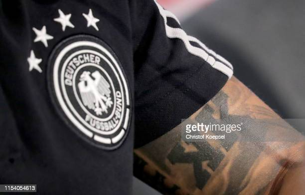 The tattoo of Thilo Kehrer during a press conference ahead of their UEFA European Championship Qualifier match against Belarus at Stadion de Koel on...