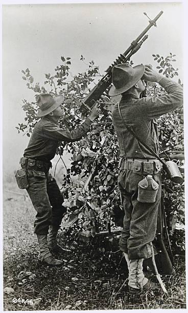 Soldier Aiming Antiaircraft Gun With Buddy Using Binoculars