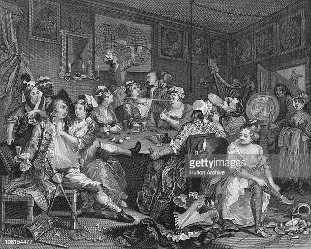 The Tavern Scene from Plate 3 of 'The Rake's Progress' a series of paintings by William Hogarth circa 1735 The dissolute Tom Rakewell enjoys himself...