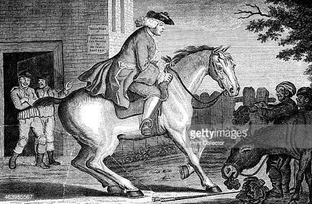 'The Taylor riding to Brentford' 1768 The rider has Rules for bad horsemen in his pocket A poster reads Various feats of horsemanship performed this...