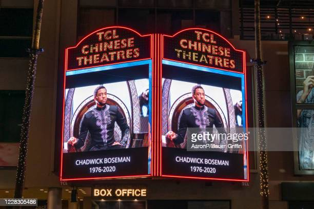 The TCL Chinese Theatre honors actor Chadwick Boseman on their marquee on Hollywood Blvd after the announcement of the 'Black Panther' star's death...