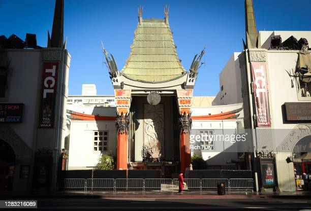 The TCL Chinese Theatre is seen on October 31, 2020 in Hollywood, California. Sean Connery's handprints and footprints are on display to remember the...