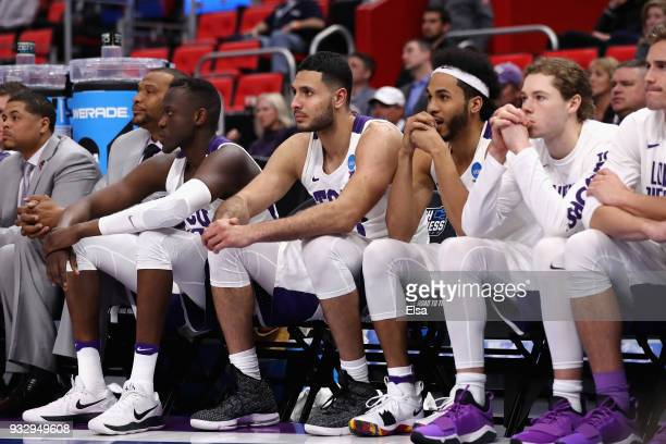 The TCU Horned Frogs bench reacts during the second half against the Syracuse Orange in the first round of the 2018 NCAA Men's Basketball Tournament...