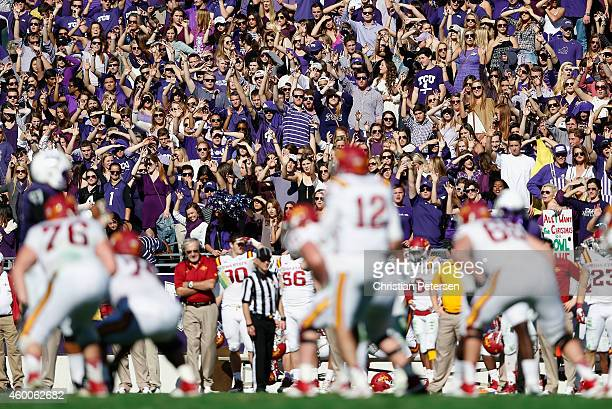 The TCU Horned Frogs student section cheers as quarterback Sam B Richardson of the Iowa State Cyclones prepares to snap the football during the Big...