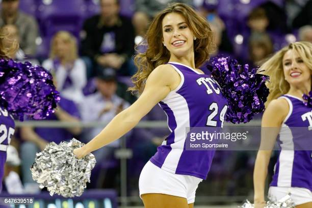 The TCU Showgirls perform during the basketball game between Kansas State Wildcats and TCU Horned Frogs on March 1 2017 at Ed Rae Schollmaier Arena...