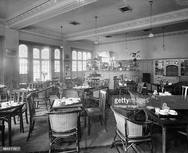 The tea room Liverpool Street Station London 1916 The tea room at Liverpool Street Station laid out for tea with the cashier's desk visible in...