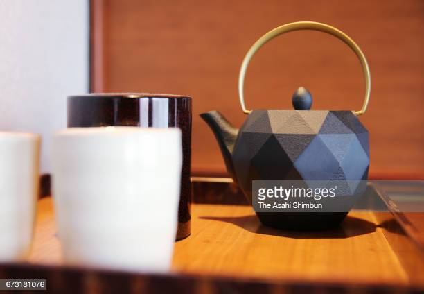 The tea set of the 'ShikiShima' Suite room of the JR East's 'Train Suite ShikiShima' is seen during the press preview on April 26 2017 in Tokyo Japan...