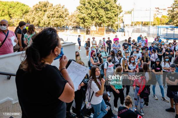 The teacher of the Higher Institute Mons. Antonio Bello in Molfetta form classes by calling students by name on the first day of school in Molfetta,...