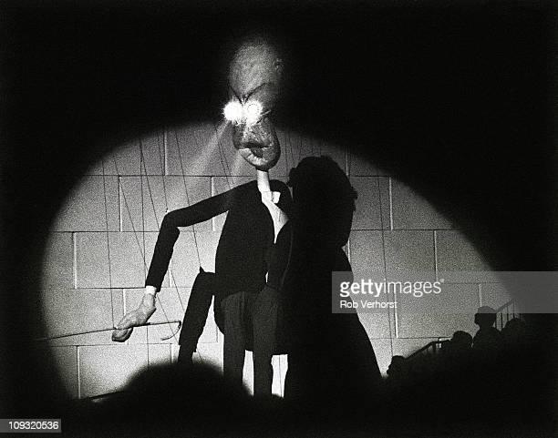 The Teacher puppet appears on stage during Pink Floyd's performance at Earl's Court in London on The Wall tour 6th August 1980