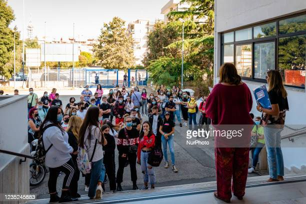 The teachers of the Higher Institute Mons. Antonio Bello in Molfetta form classes by calling students by name on the first day of school in Molfetta,...