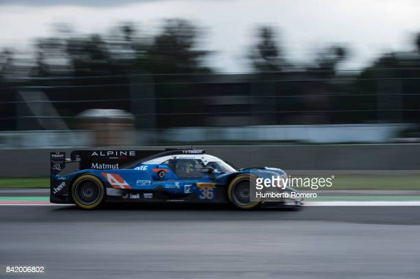 The Team Alpine drives during practice for the FIA World Endurance Championship at Hermanos Rodriguez Race Track on September 02 2017 in Mexico City...
