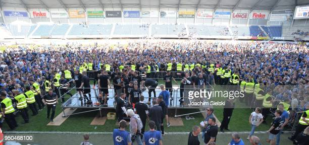 The Team and The Fans of Paderborn celebration after the 3 Liga match between SC Paderborn 07 and SpVgg Unterhaching at Benteler Arena on April 21...