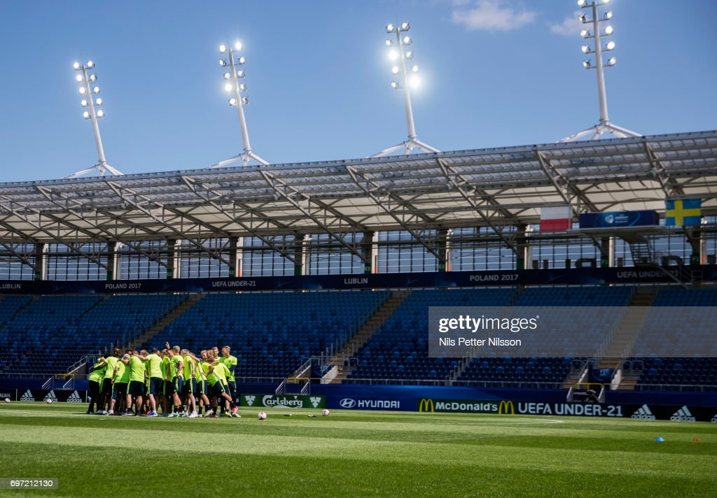 The team assembles during the Swedish U21 national team MD-1 training at Arena Lublin on June 18, 2017 in Lublin, Poland.