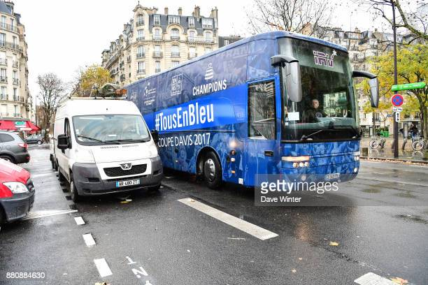 The team bus arrives for the presentation of the Davis Cup winning team to the staff of the French Tennis Federation at Roland Garros on November 27...