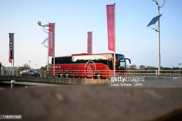 The team bus of Amsterdam arrives for the UEFA Champions League group H match between AFC Ajax and Chelsea FC at Amsterdam Arena on October 23 2019...
