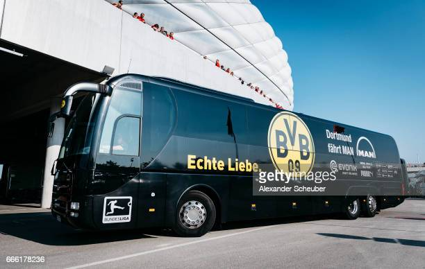 The team bus of Borussia Dortmund arrives prior to the Bundesliga match between Bayern Muenchen and Borussia Dortmund at Allianz Arena on April 8...