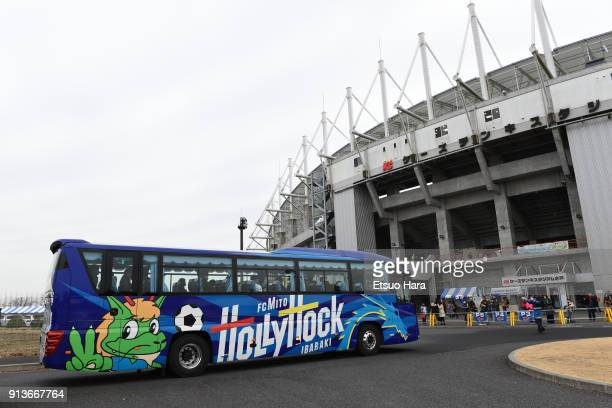 The team bus of Mito Hollyhock arrives at the stadium prior to the preseason friendly match between Mito HollyHock and Kashima Antlers at K's Denki...