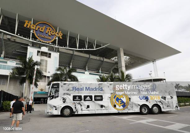 The team bus of Real Madrid arrives at the stadium prior to a training session at Hard Rock Stadium on July 30 2018 in Miami Florida