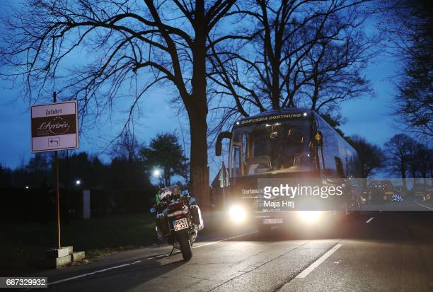 The team bus of the Borussia Dortmund football club seen after the bus was damaged in an explosion on April 11 2017 in Dortmund Germany According to...