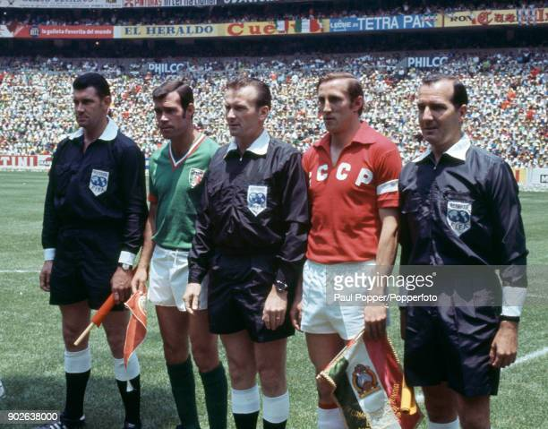 The team captains and match officials posing for a photograph prior to the opening match between the host nation Mexico and the USSR in the 1970 FIFA...