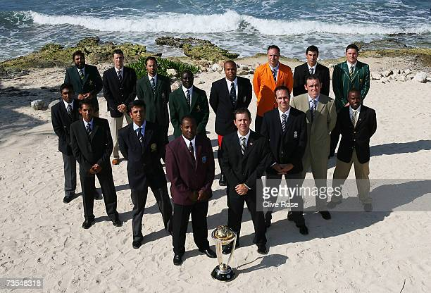 The team captains pose with the trophy during the ICC Cricket World Cup 2007 photo call at the Ritz Carlton Hotel on March 11, 2007 in Montego Bay,...