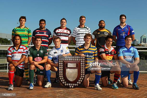 The team captains poses with the Shute Shield during the 2012 Shute Shield Captain's Call at Moore Park on April 4 2012 in Sydney Australia