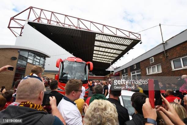 The team coach of Liverpool arrives prior to the PreSeason Friendly match between Bradford City and Liverpool at Northern Commercials Stadium on July...