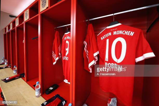 The team dressing room of FC Bayern Muenchen is pictured prior to the Bundesliga match between FC Bayern Muenchen and Bayer 04 Leverkusen at Allianz...