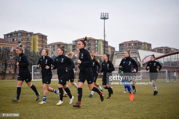 The team during a Juventus Women training session on February 2 2018 in Turin Italy