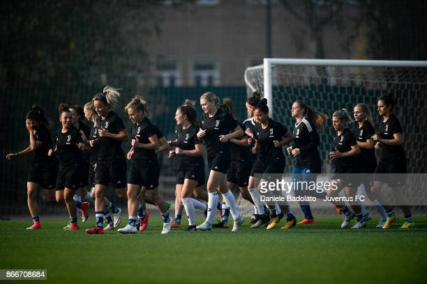 the team during a Juventus Women training session on October 26 2017 in Turin Italy