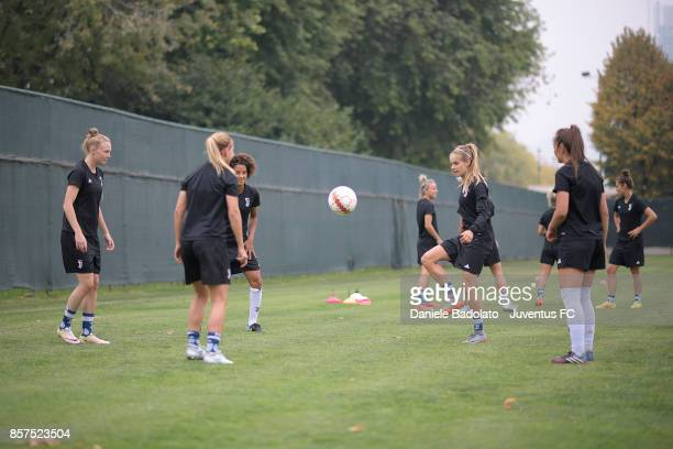 The team during a Juventus Women training session on October 4 2017 in Turin Italy