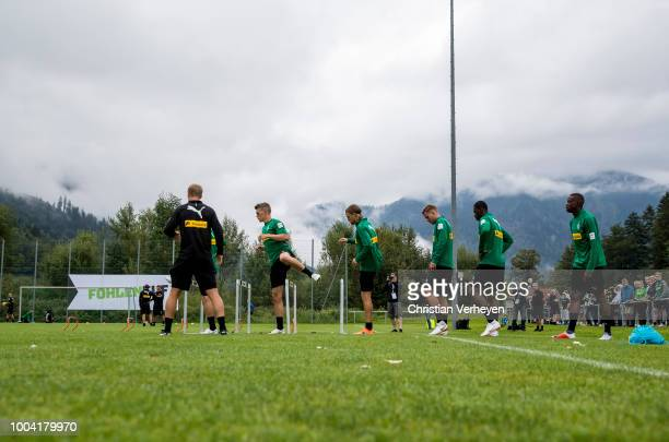 The Team during a Training Session at Borussia Moenchengladbach Training Camp at Stadion am Birkenmoos on July 23, 2018 in Rottach-Egern, Germany.