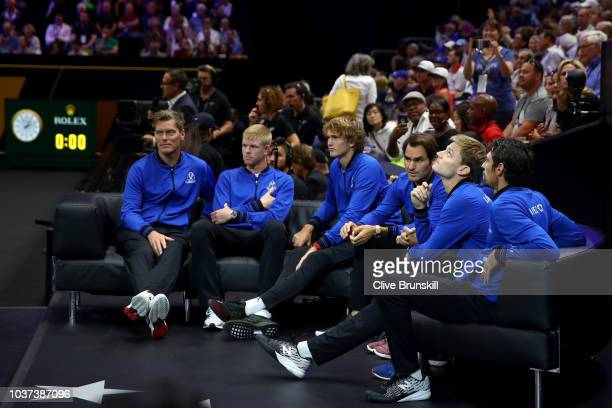 The Team Europe bench looks on during the Men's Singles match on day one of the 2018 Laver Cup at the United Center on September 21 2018 in Chicago...