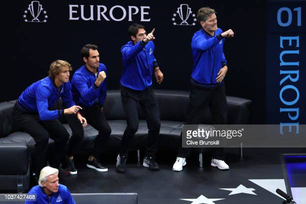 The Team Europe bench reacts during the Men's Singles match on day one of the 2018 Laver Cup at the United Center on September 21 2018 in Chicago...