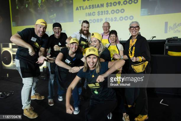 The team from Atlassian accept an award for fundraising during the OzHarvest CEO Cookoff on March 25 2019 in Sydney Australia