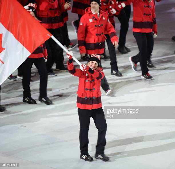 The team from Canada enters Fisht Olympic Stadium in Sochi Russia during the Opening Ceremony for the Winter Olympics Friday Feb 7 2014