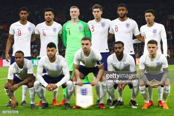 The team from England line up during the International Friendly match between Netherlands and England at Amsterdam ArenA also called the Johan Cruyff...